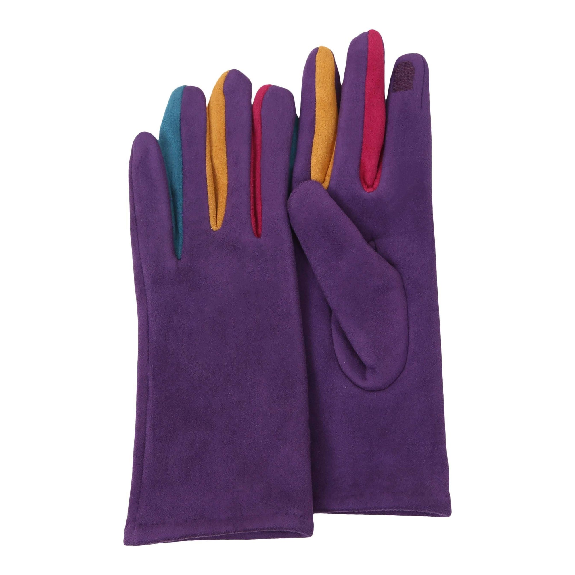 Purple & Multicolor Texting Gloves