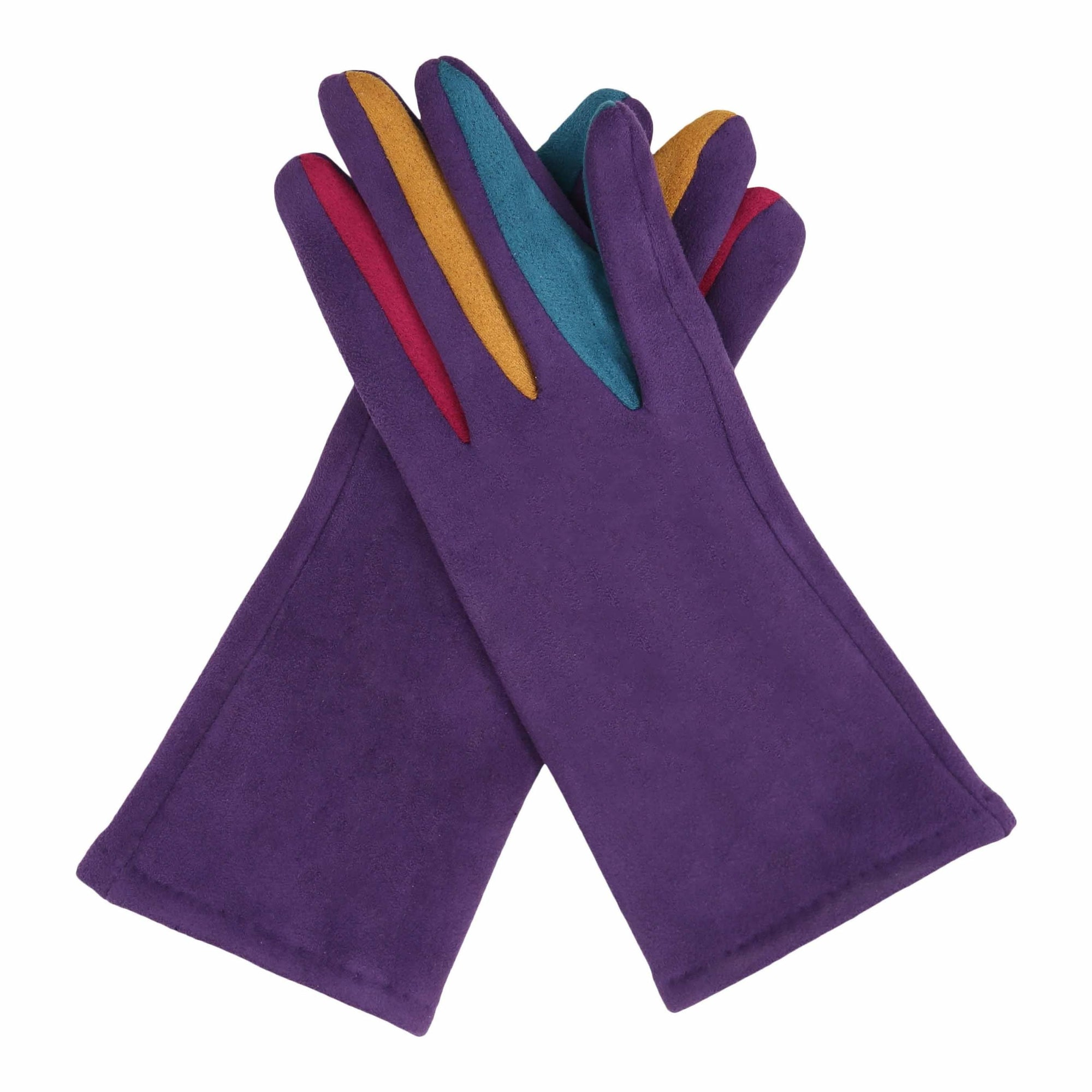 Pair of purple texting gloves with multicolored gussets between each finger.