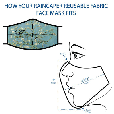 Infographic detailing how a RainCaper reusable fabric face mask fits. The image shows the mask covering both the nose and the mouth, and gives a height of 7 inches between the bridge of the nose and under the chin. The mask is 9.25 inches wide when laid flat, and 4.625 inches wide when folded in half.