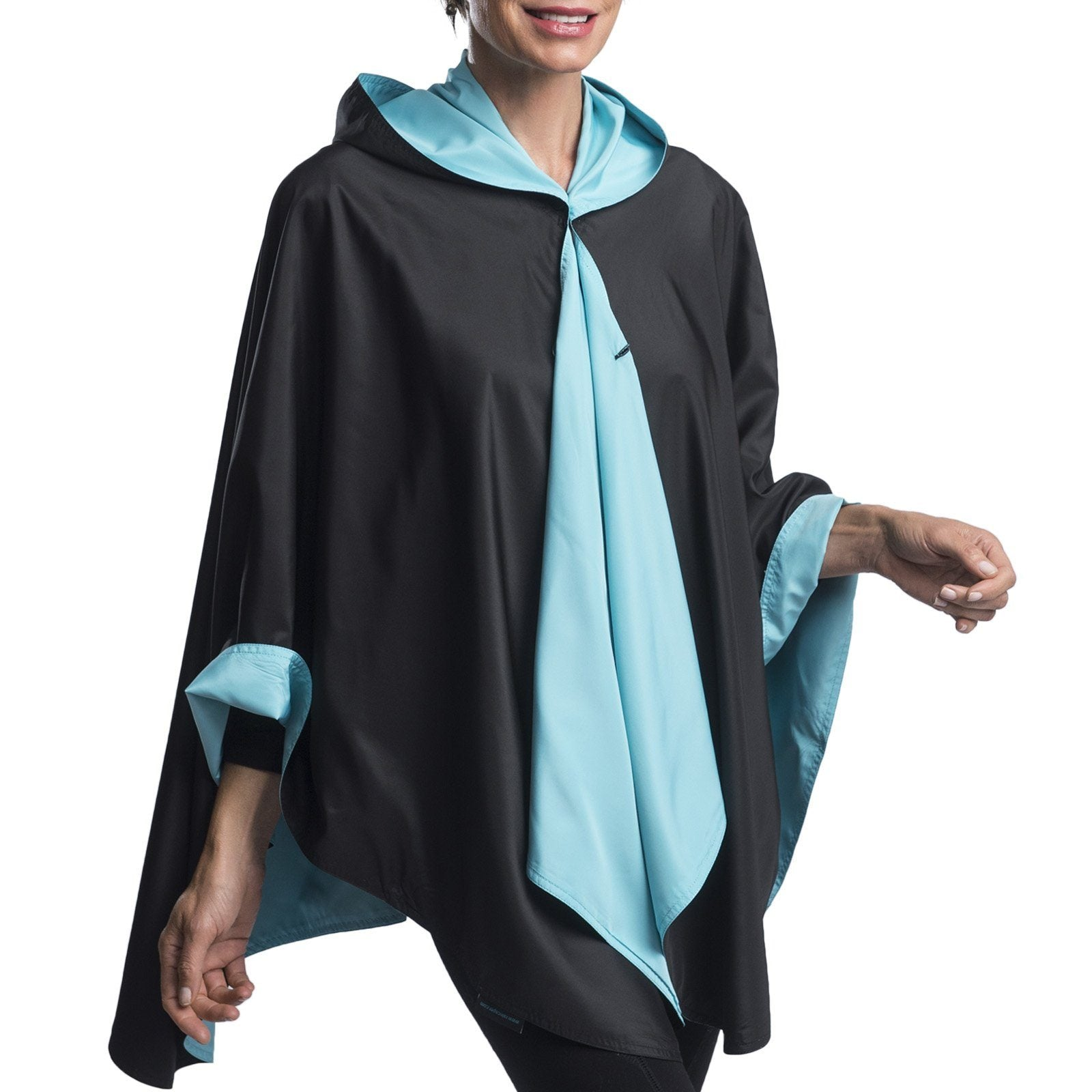 RainCaper Black & Sky Blue Travel Cape & Womens Rain Coat