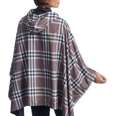 Women wearing a Black & Coco Plaid RainCaper travel cape