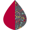 A raindrop shape depicting the Berry & Swirl Dots print as found on Berry & Swirl Dots RainCaper
