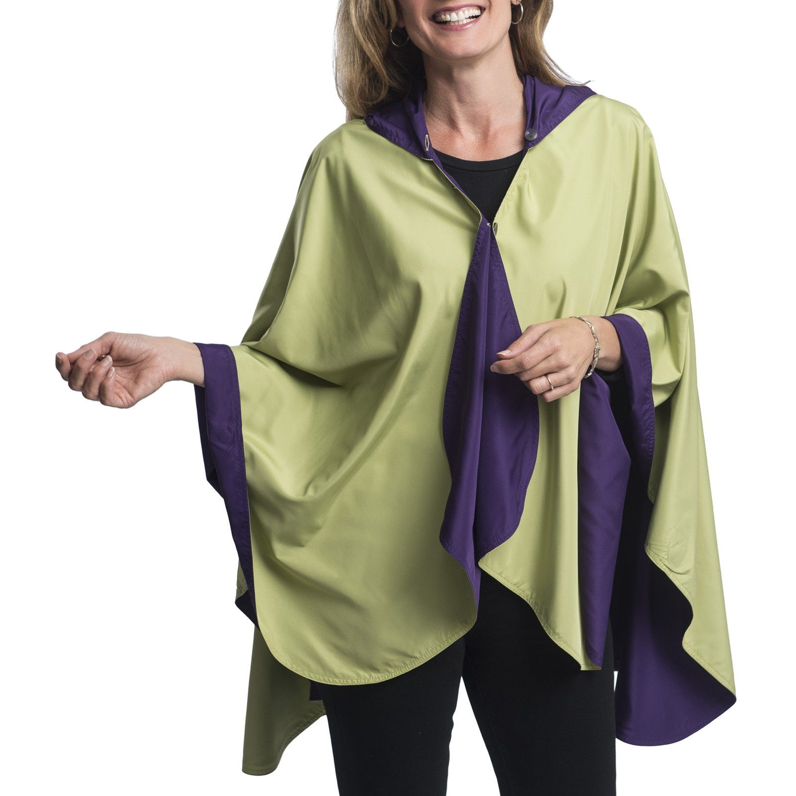 RainCaper Eggplant & Kiwi Travel Cape & Womens Rain Coat