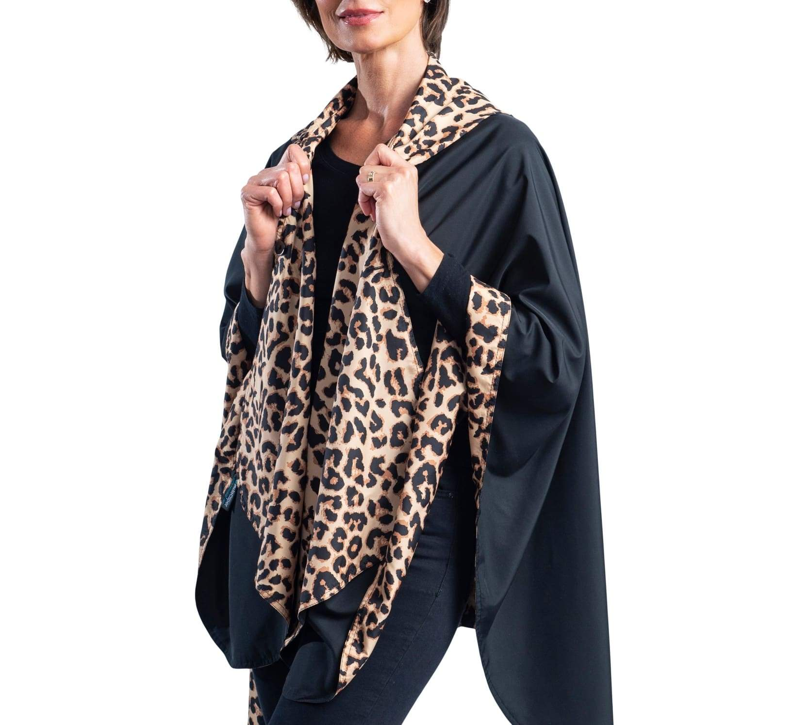 RainCaper Black & Leopard Animal Print Travel Cape