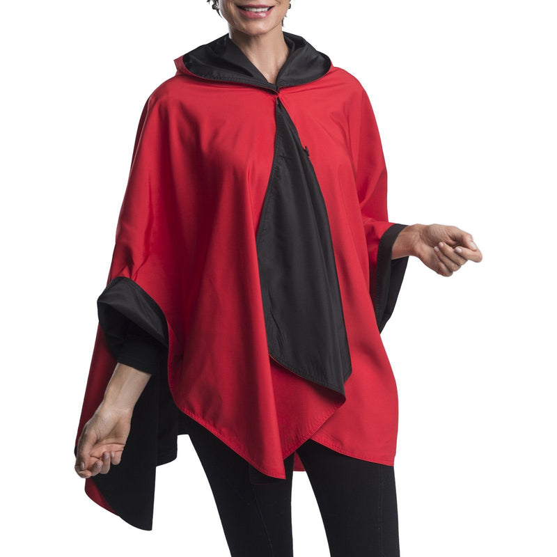 RainCaper Black & Red Travel Cape & Womens Rain Coat