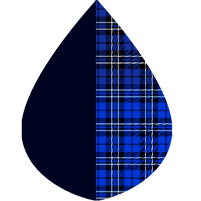 A raindrop shape depicting the Black & Royal Tartan print as found on a Black & Royal Tartan RainCaper