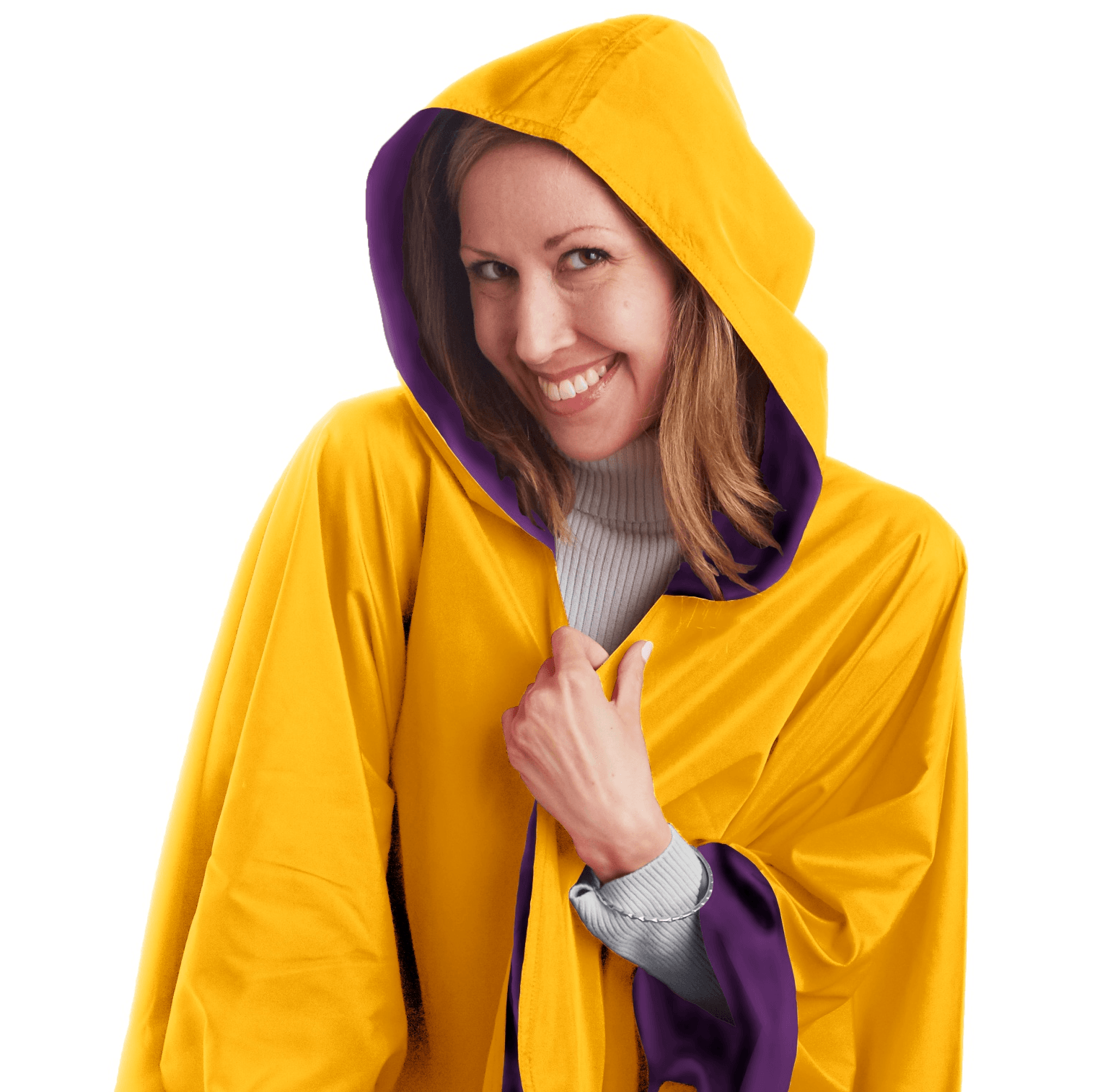 Woman wearing a SpiritCaper Purple & Gold Wind & Rainproof Cheer Cape with the Purple side out,revealing the Gold Wind color at the lapels and cuffs.