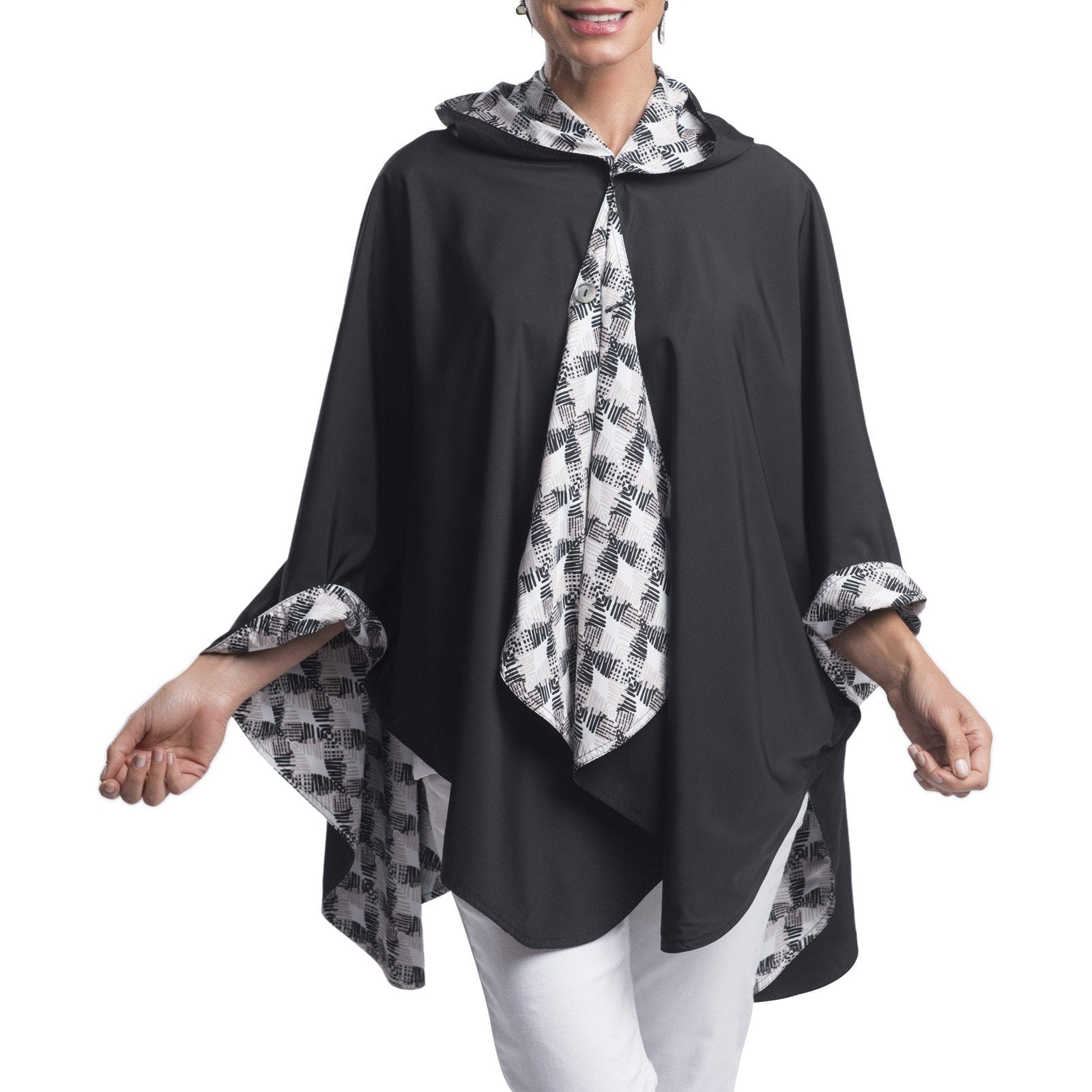 RainCaper Black with Latte Print Travel Cape
