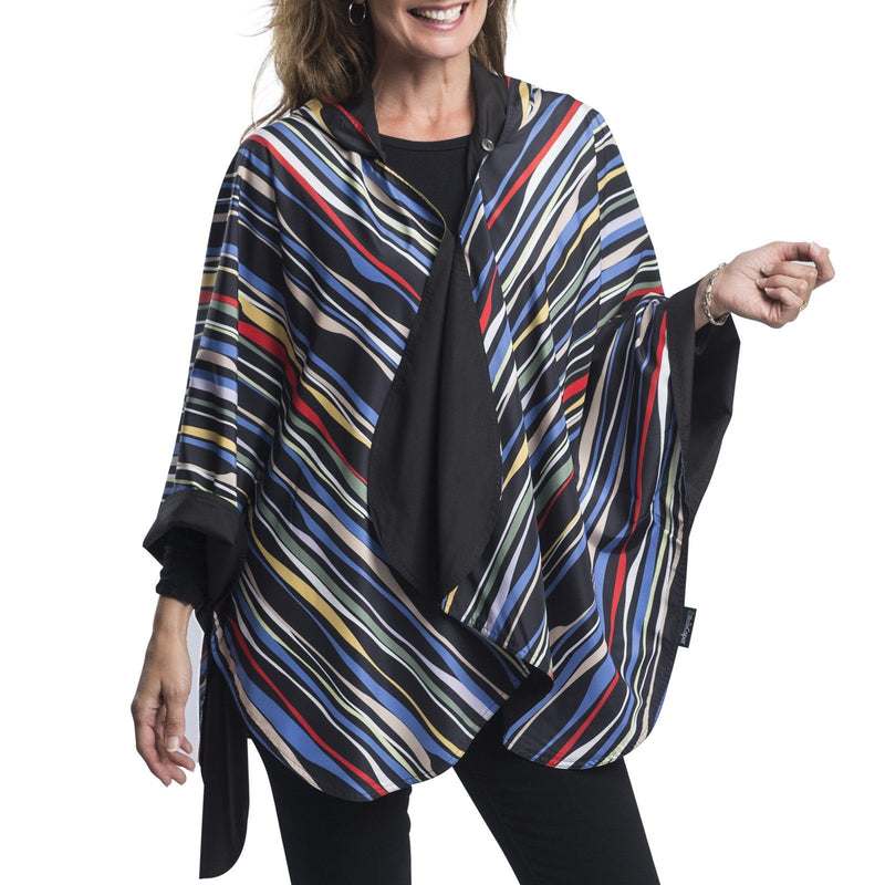 RainCaper Black & Wavy Stripes Travel Cape