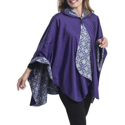RainCaper Ultraviolet & Kiwi Print Travel Cape & Womens Raincoat