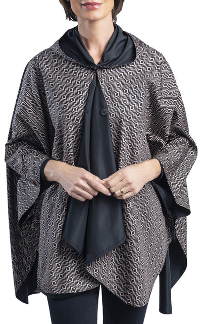 RainCaper Black with Camel Diamonds Travel Cape & Womens Raincoat