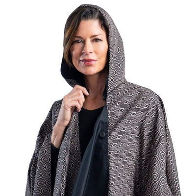 703ccb9f8 RainCaper Black with Camel Diamonds Travel Cape & Womens Raincoat