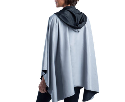 Women wearing a Black & Pewter Grey RainCaper travel cape