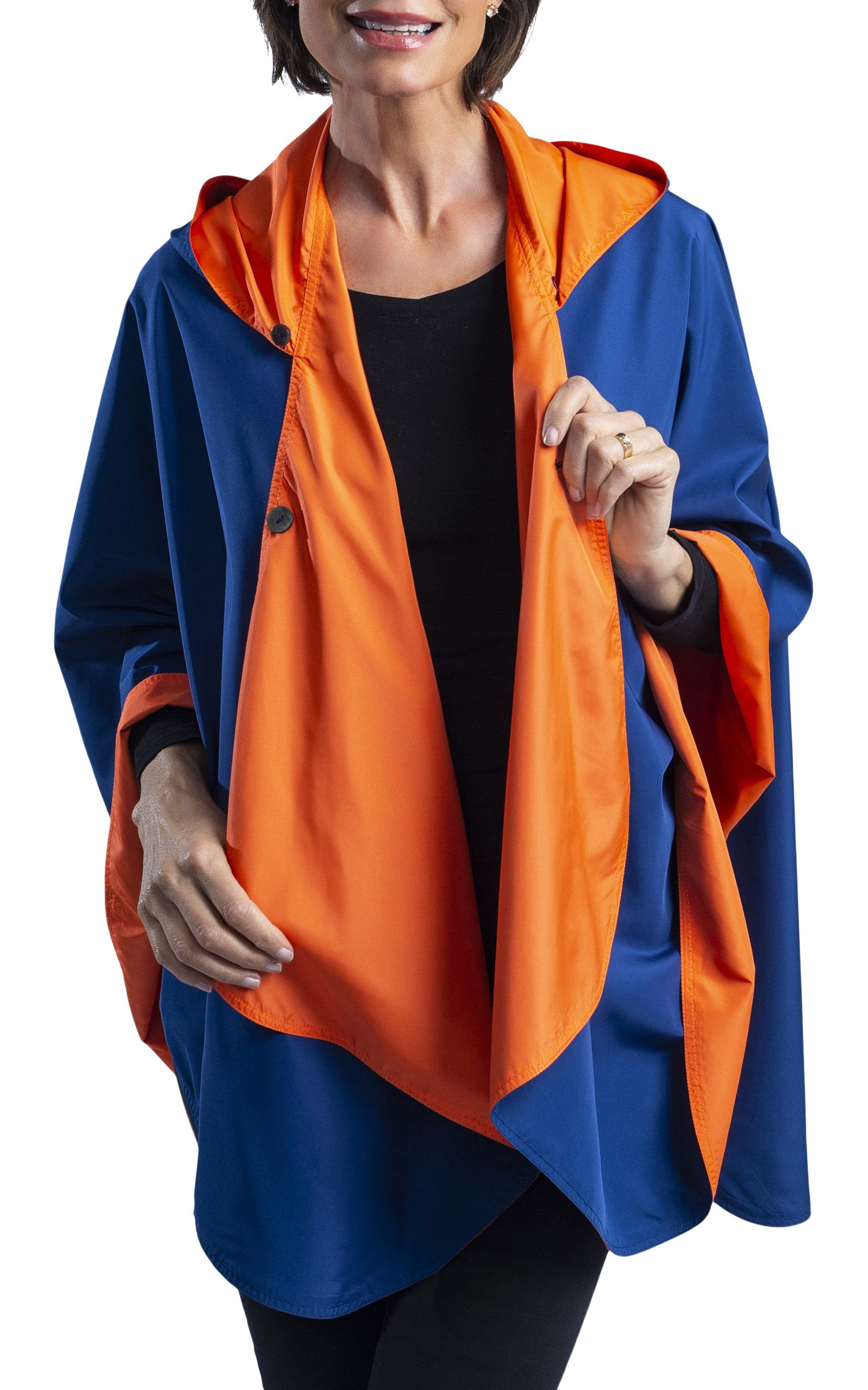 SpiritCaper Navy Blue & Orange Wind & Rainproof Sports Cape