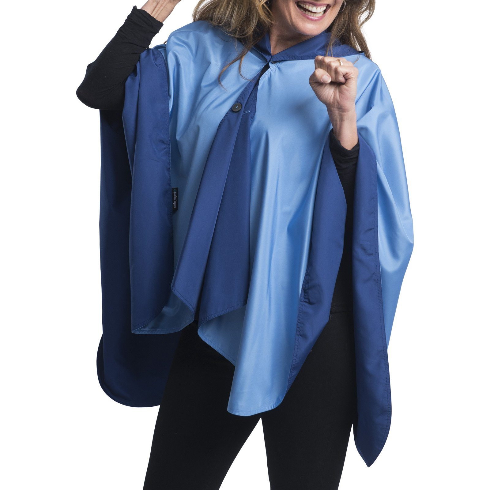 Woman wearing a Navy & Carolina Blue Wind & Rainproof Sports & Cheer Cape with the Carolina Blue side out, revealing the Navy print at the lapels,necklines and cuffs