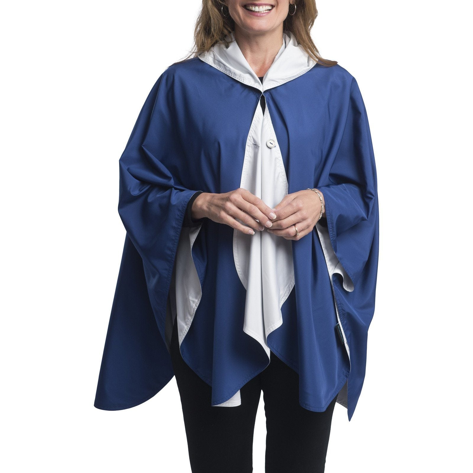 SpiritCaper Navy & White Wind & Rainproof Sports Cape