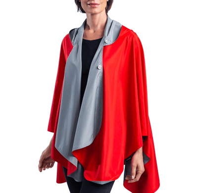 SpiritCaper Scarlet & Gray Wind & Rainproof Sports Cape