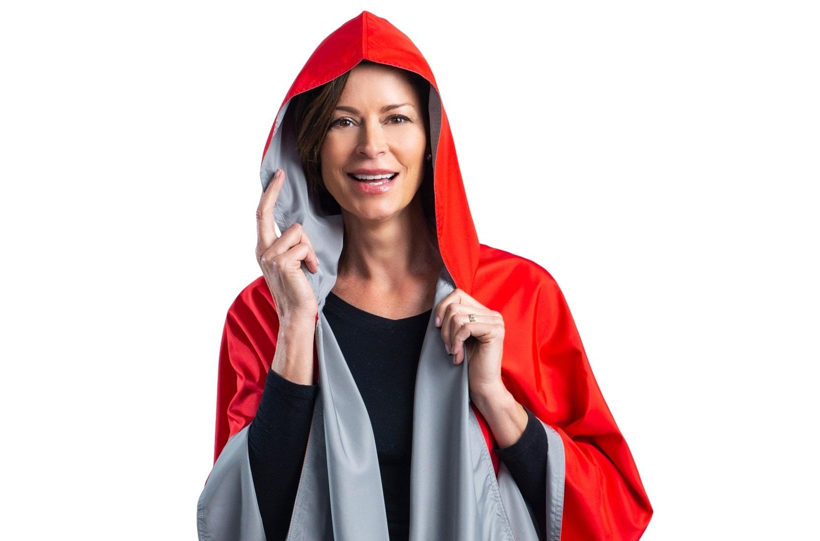 Woman wearing a Scarlet & Gray Wind & Rainproof Sports Cape