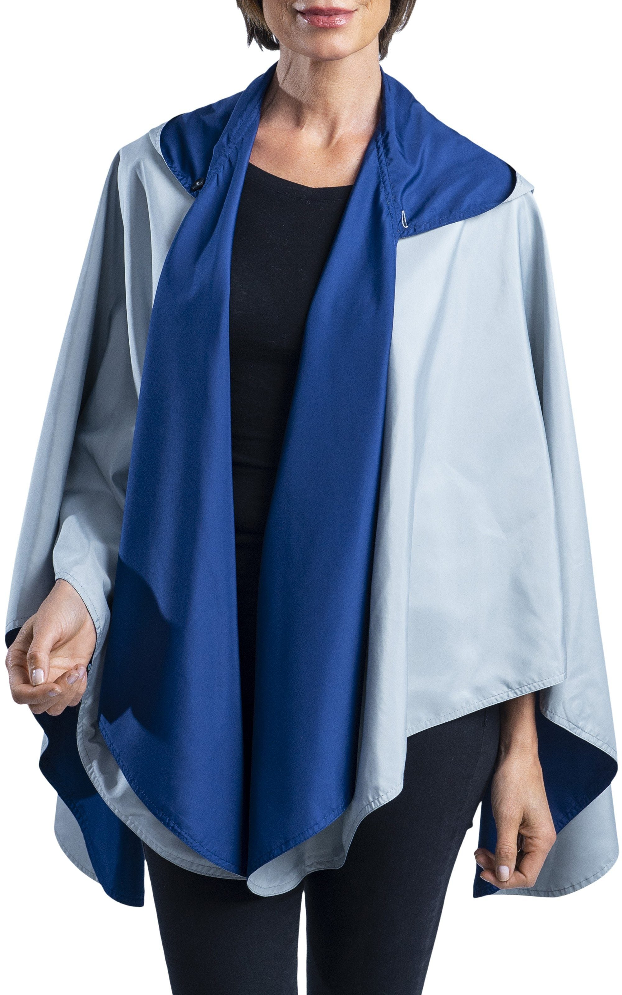 Woman wearing a SpiritCaper Navy & Grey Travel & Sports Cape