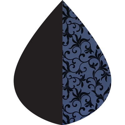 A raindrop shape depicting the Midnight Blue with Velvet Swirls print as found on a Midnight Blue with Velvet Swirls RainCaper