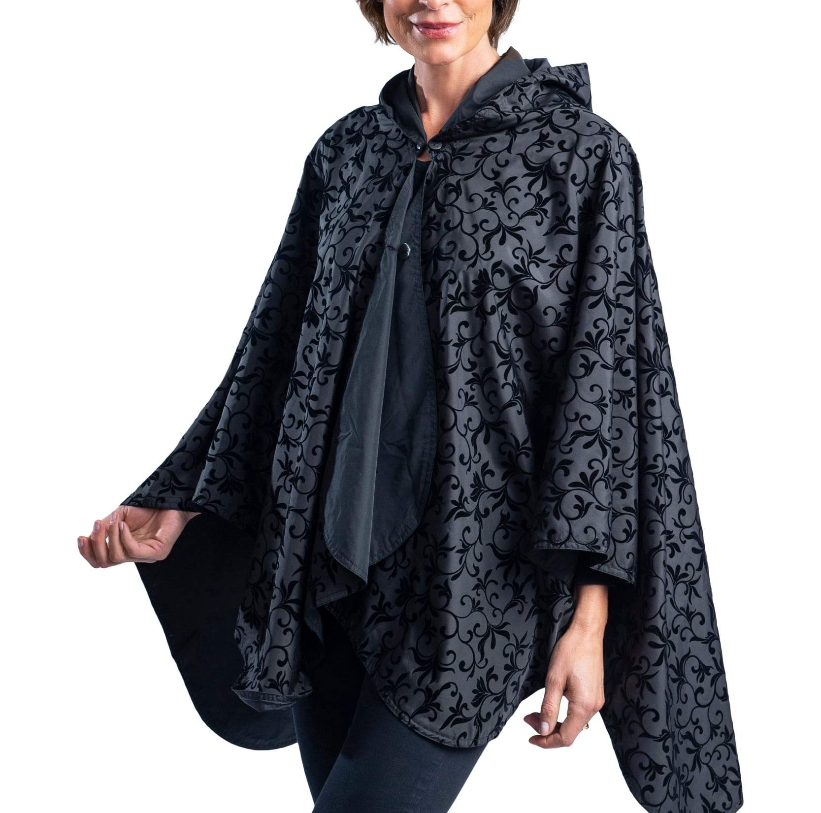RainCaper Black with Velvet Swirls Travel Cape & Womens Rain Wrap