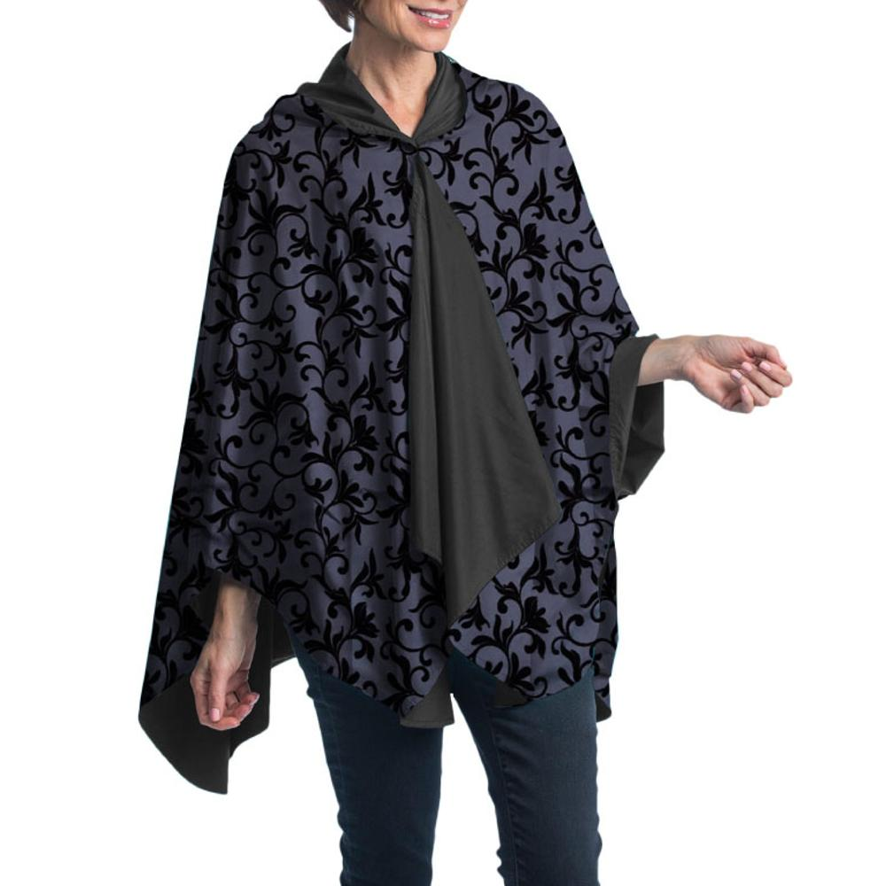 Woman wearing a RainCaper Dressy Rain Cape Black/Velvet Swirls