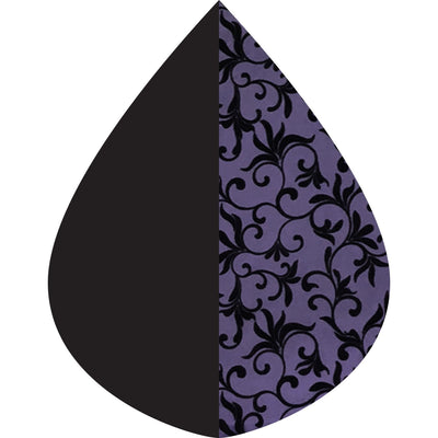 A raindrop shape depicting the Plum with Velvet Swirls print as found on a Plum with Velvet Swirls RainCaper