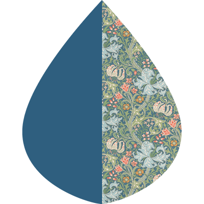 "A raindrop shape depicting the Bluebell & William Morris ""Lily"" print as found on a  Bluebell & William Morris ""Lily"" RainCaper"