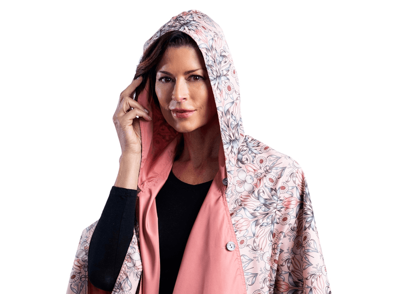 "RainCaper Blush & William Morris ""Tulips"" Travel Cape"