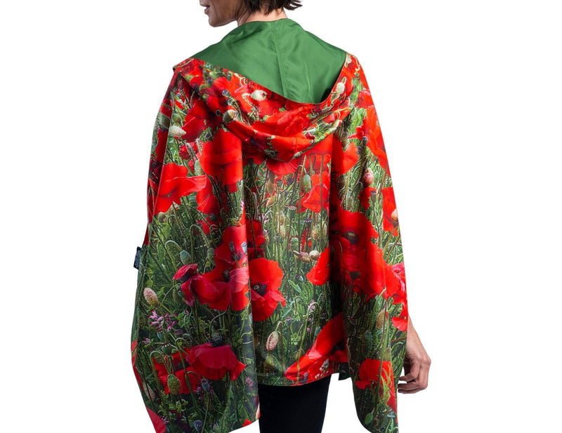 RainCaper Moss with Poppies Travel Cape - New!