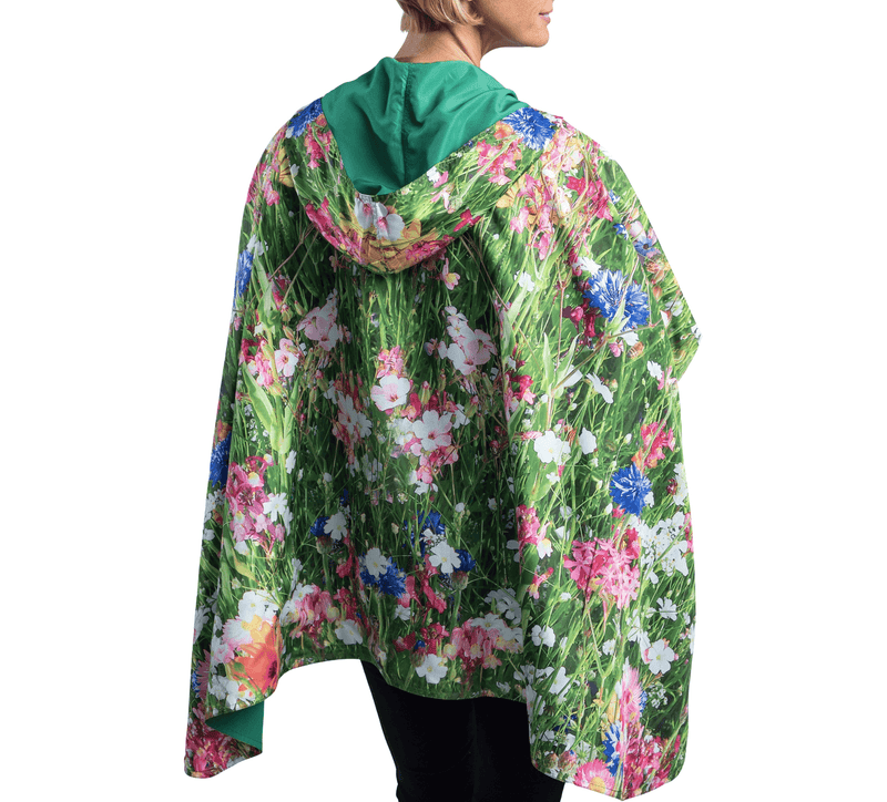 RainCaper Clover with Pink Wildflowers Travel Cape