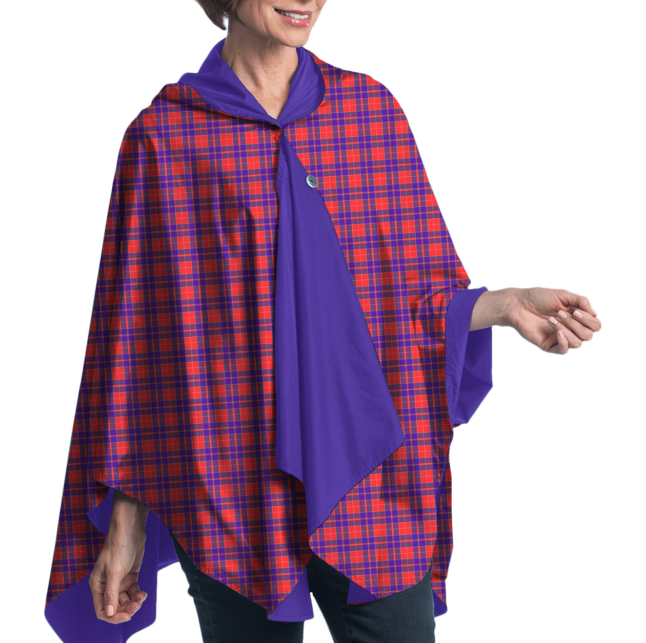 RainCaper Purple with Red & Purple Plaid Travel Cape - Last One!