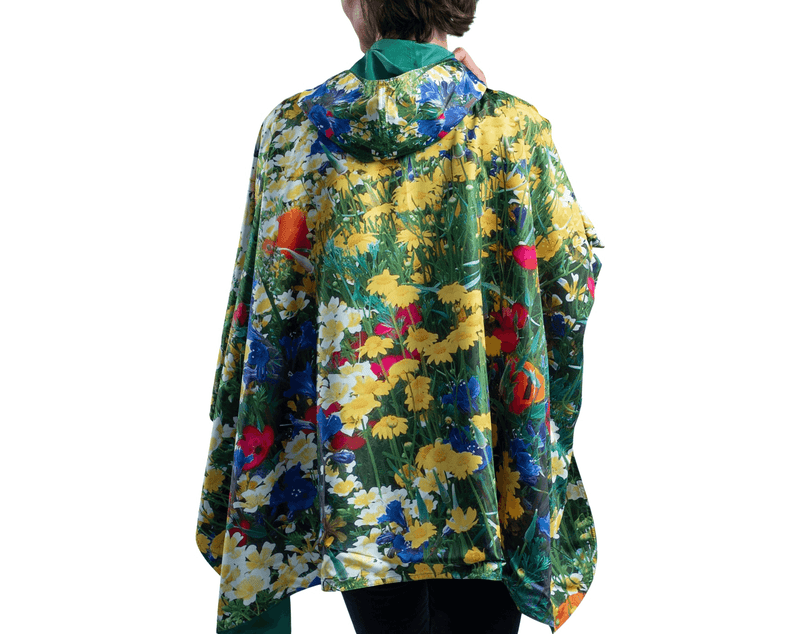 RainCaper Clover with Blue & Yellow Wildflowers Travel Cape