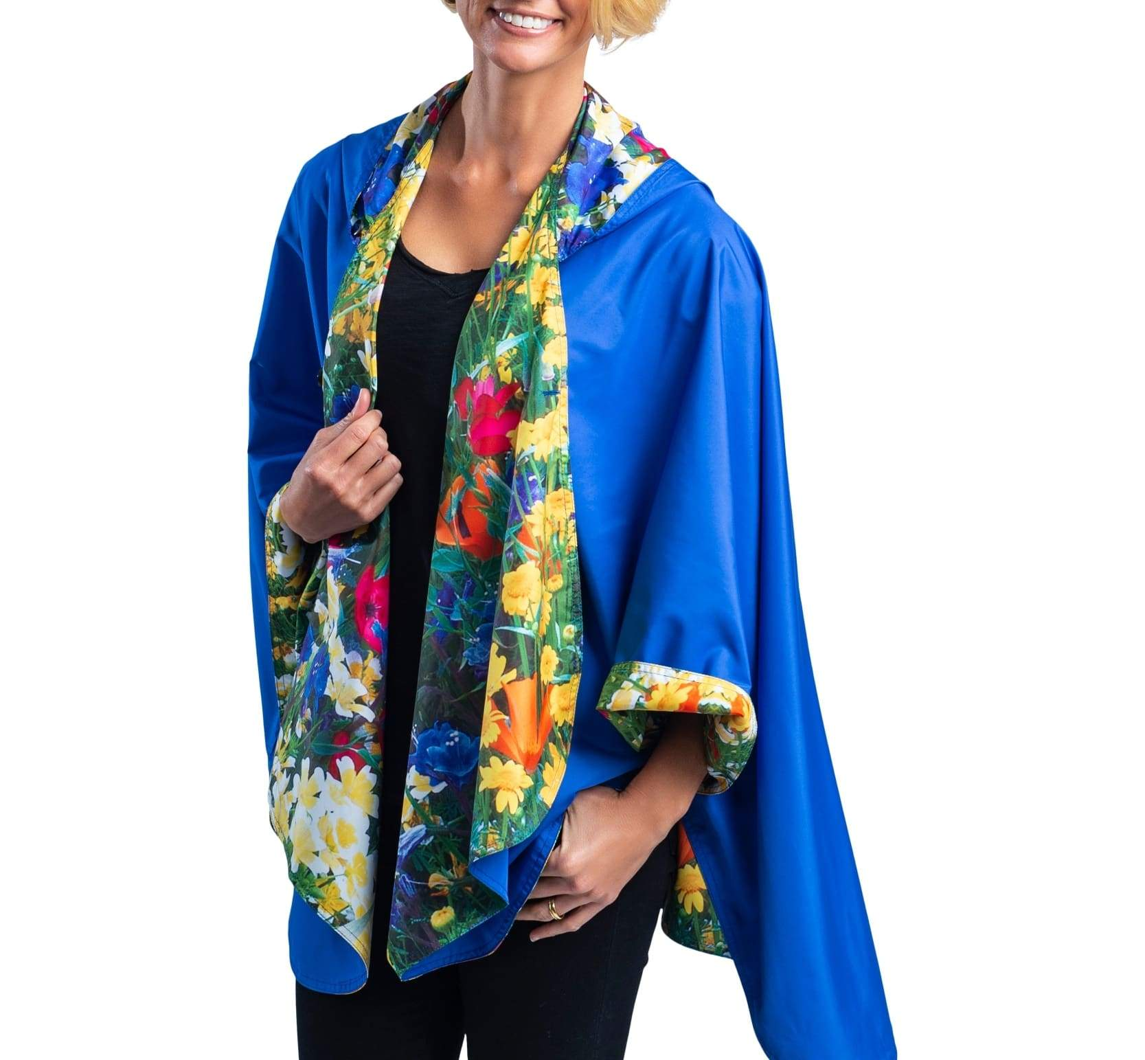 RainCaper Royal with Blue & Yellow Wildflowers Travel Cape