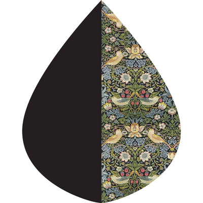 A raindrop shape depicting the Black/William Morris Strawberry Thief print as found on Black/William Morris Strawberry Thief RainCaper.