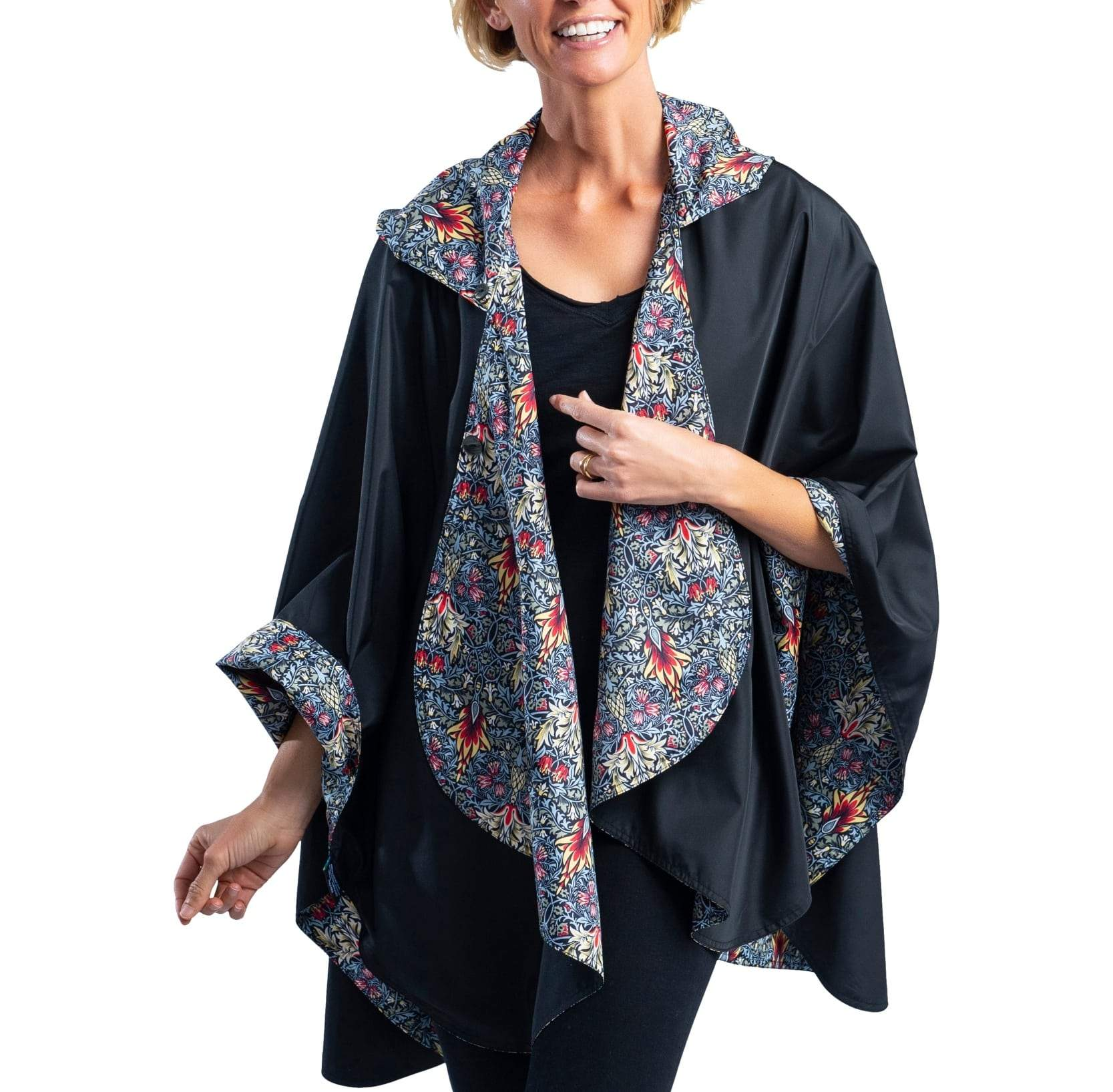 RainCaper Black/William Morris Snakeshead Travel Cape - Last One!