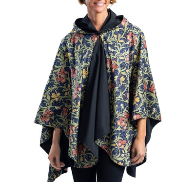 RainCaper Black/William Morris Golden Flowers Travel Cape