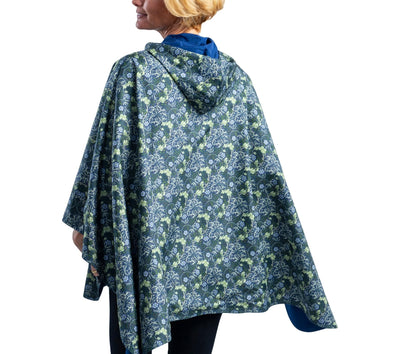 RainCaper Navy/William Morris Seaweed Travel Cape - New!