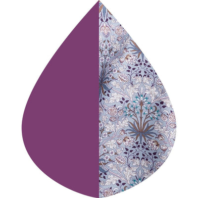 A raindrop shape depicting the Plum/William Morris Hyacinth print as found on  Plum/William Morris Hyacinth RainCaper.