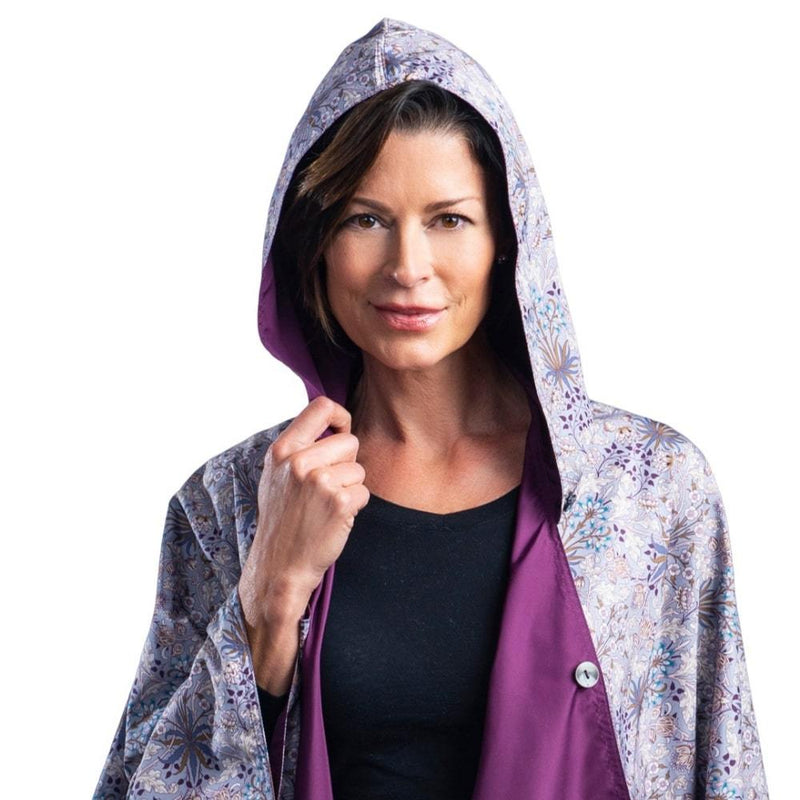 RainCaper Plum/William Morris Hyacinth Travel Cape - New!