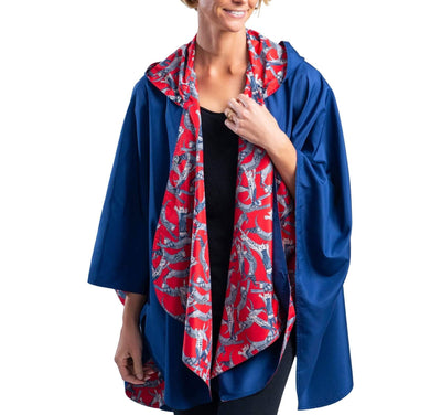 RainCaper Navy/Cool Cats Travel Cape & Womens Rain Coat - New!