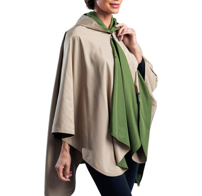 RainCaper Olive/Camel Travel Cape & Womens Rain Coat - New!