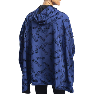 RainCaper Dressy Rain Cape - Midnight Blue Velvet Symphony/Black Travel Cape