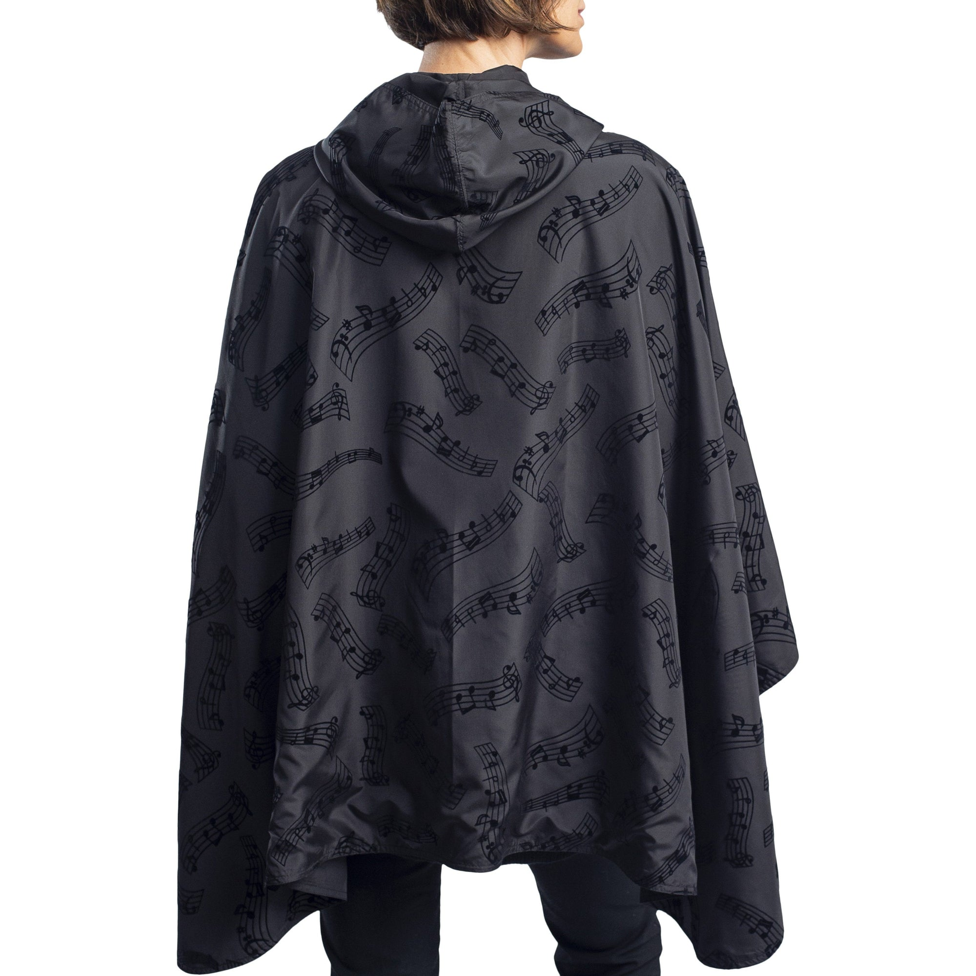 RainCaper Dressy Rain Cape - Black Velvet Symphony/Black Travel Cape