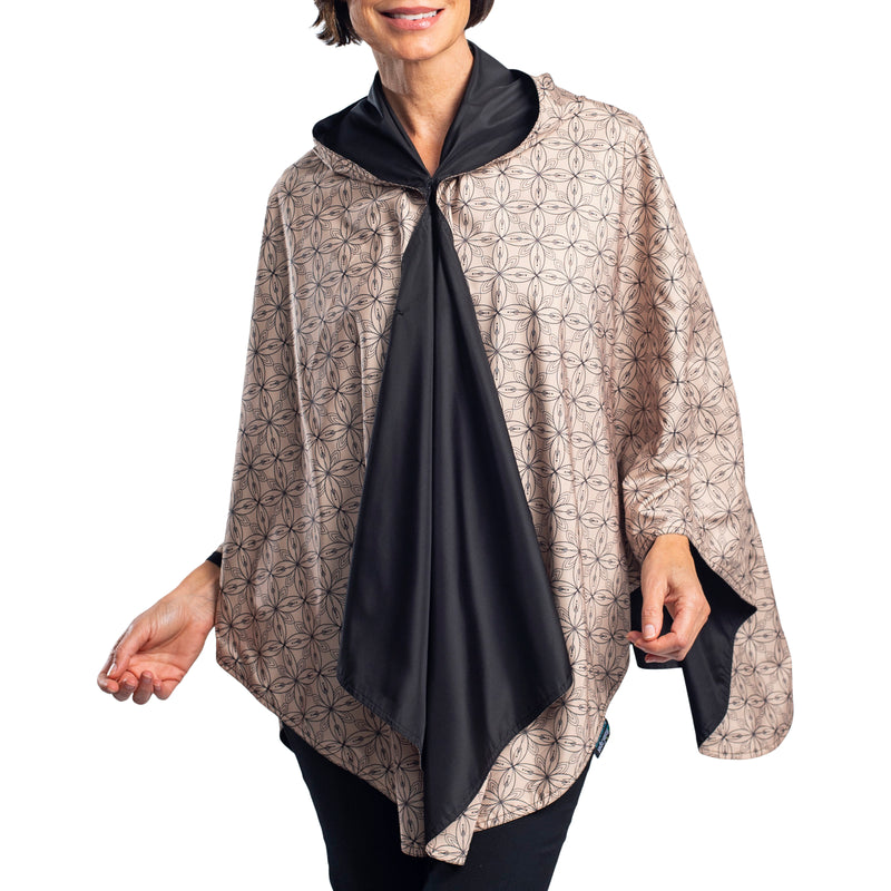 RainCaper Black/Camel Kelsey Print Reversible Travel Cape