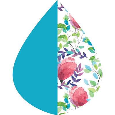 A raindrop shape depicting the Aqua & Spring Watercolor print as found on an Aqua & Spring Watercolor RainCaper