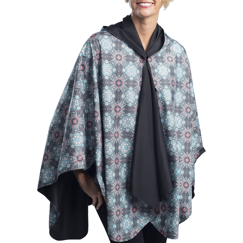 RainCaper Black/Mosaic Coral & Turquoise Reversible Travel Cape