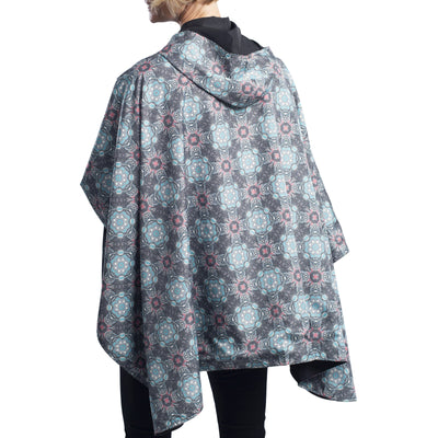RainCaper Black/Mosaic Coral & Turquoise Reversible Travel Cape - New!