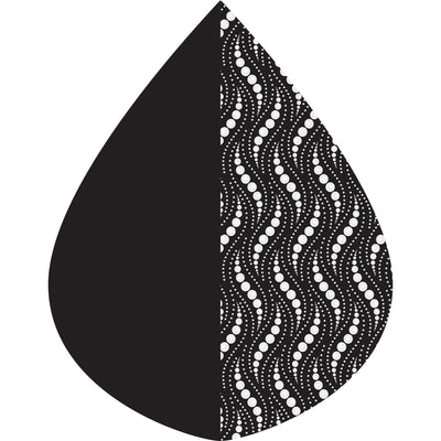 A raindrop shape depicting the Black/Wavy Pearls Reversible print as found on a Black/Wavy Pearls Reversible RainCaper