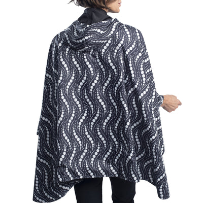 RainCaper Black/Wavy Pearls Reversible Travel Cape - New!